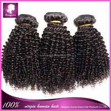 hot new products for 2014 unprocessed human hair 6a virgin Brazilian hair weave candy curl hair extension in stock