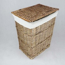 Breathable metal frame steady and sturdy wicker basket with lid