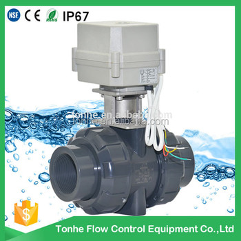 "OEM 2 way 1.5"" inch PVC valve AC110V-220V Normal open DN40 motorized UPVC ball valve"