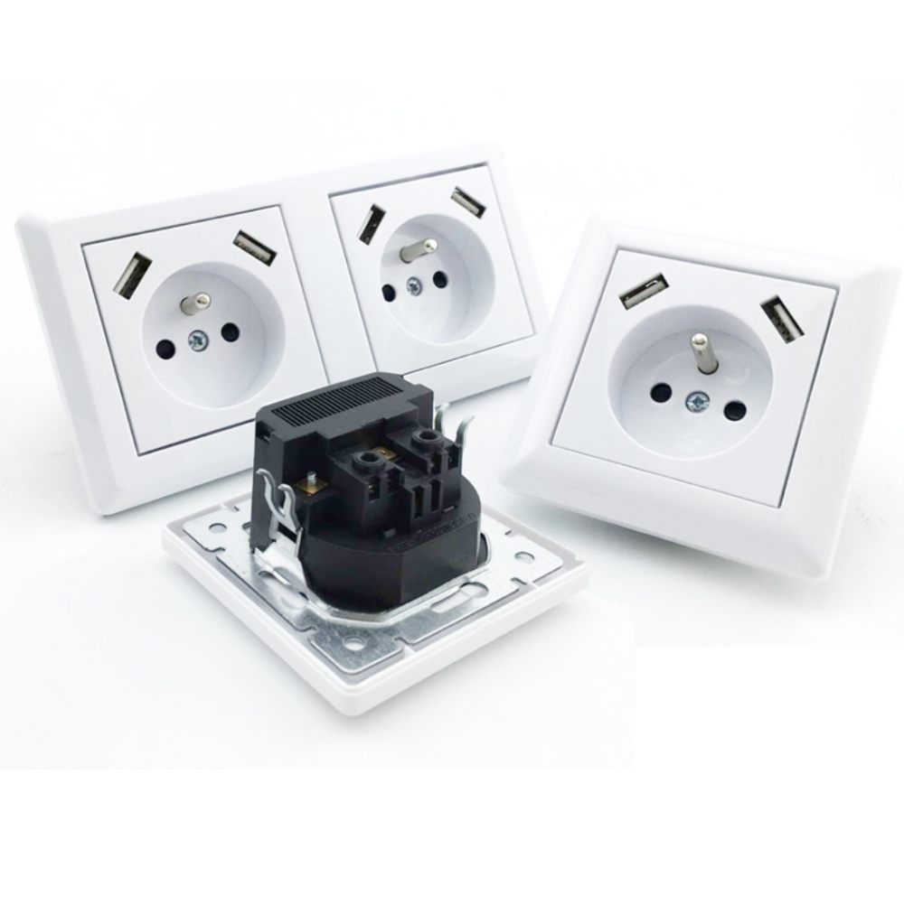 French Standard 16A Duplex Wall Socket 4 USB Fast Charger Power Wall Outlet  With 4.2A USB