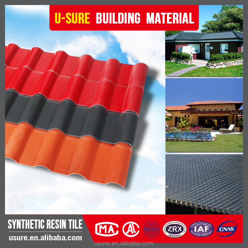 Heat resistant panels Trapezoid anti-uv ray pvc plastic decorative synthetic resin roof tile