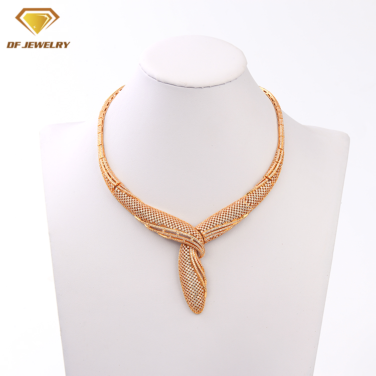 fashion brass jewelry 18k rose gold plated aaa quality stone jewelry set