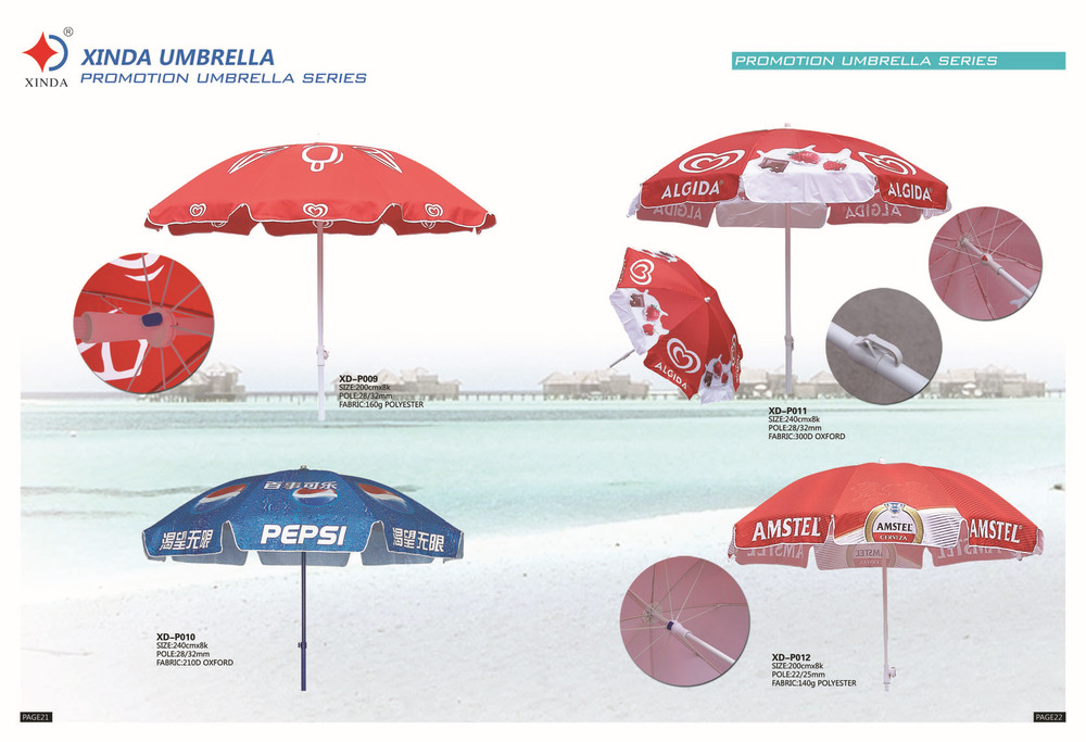 220cm big promotional advertising beach umbrella