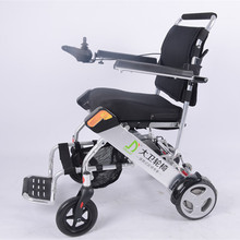 Compact foldable lightweight travel electric wheelchair with 180W brushless motor and lithium battery for elderly people use
