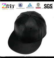 New product 2015 custom 6 Panel black leather snapback hats caps wholesale