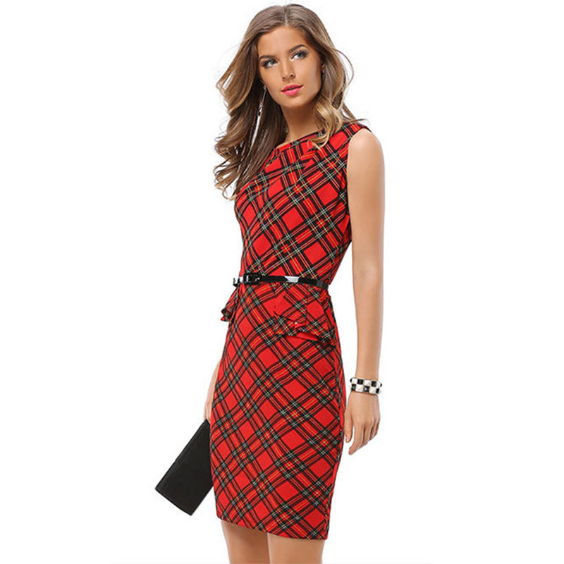 Red Plaid Patchwork Bodycon A Line Dress Women 2017 Elegant Sleeveless Work Office Party Wear O Neck Big Plus Size Lady Dresses