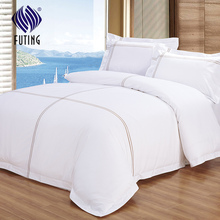 5 star hotel luxury bedding set satin drill bed sheet customized printed bed linen