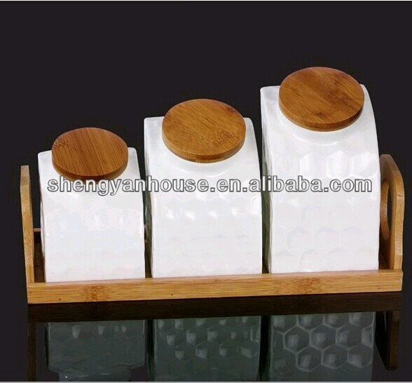S/3 White bamboo canister set wholesale