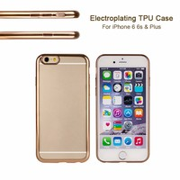 Durable Transparent Electroplating Gold TPU mobile phone cases for iphone 6 6s & Plus