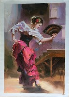 Beautiful sexy lady dancer oil painting for bedroom wall decoration photo sexy open lady