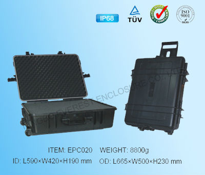 Hard plastic transportation cases with wheels
