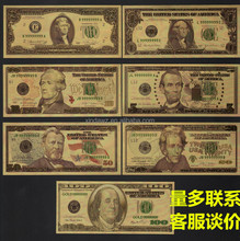 7PCS fake money 24k Gold Foil US Banknote Arts Gifts Collections