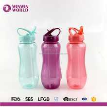BPA Free Tritan Portable Sport Plastic Water Bottle with Ice cube and straw