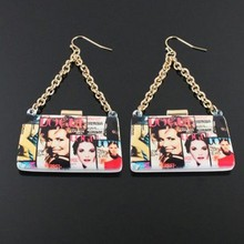 Lead & Cadmium Free Magazine Collage Clutch Fashion Earrings
