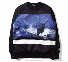 High Quality cotton anime deer sublimation pullover hoodies with side zip
