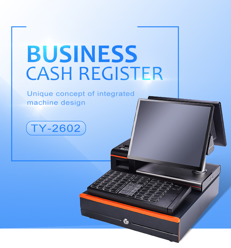 Electronic cash register 14 inch dual screen all in one cashier machine for restaurant and retail store