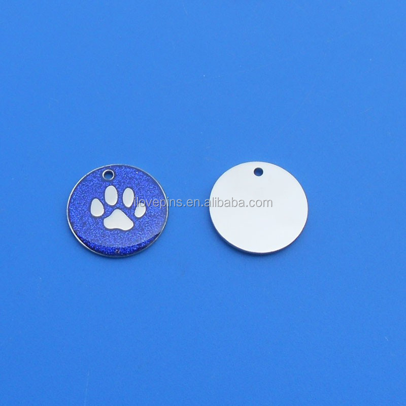 Dog ID Pet Tags Glitter Blue Paw logo Round Shape ID Dog Tags
