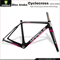 2016 MIRACLE Pink Bicycle Cyclo-cross Frameset 48/50/52/54/56/58cm Carbon Fiber Cyclocross Bike Frame+Fork Quick Release Version