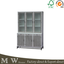 metal frame wooden painted glass door display cabinet console cabinet