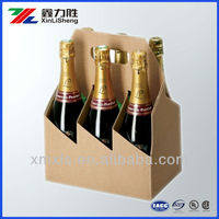 6 Bottle Carrier In Natural Fluted Board , Corrugated Display stand for wine bottle , Printable paper wine bottle boxes
