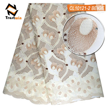 Embroidery high material textile swiss voile lace of VL10725-7