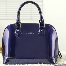 factory hot sell new design fashion patent leather tote bags for women