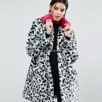 2017 Winter Latest Women Notch Lapels Leopard Print Design Fur Coat HSc9276
