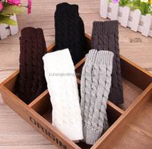 Women Knit Crochet Long Fingerless Winter Gloves Arm Warmer Mitten
