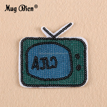 Sequins Telephone TV House design embroidery sew on clothes fashion patch