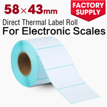 Pre printed thermal paper 58x43mm sticker plain price label roll for supermarket electronic scales