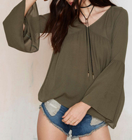 Bell Sleeve Women Olive Green Wholesale 100% Rayon Blouse