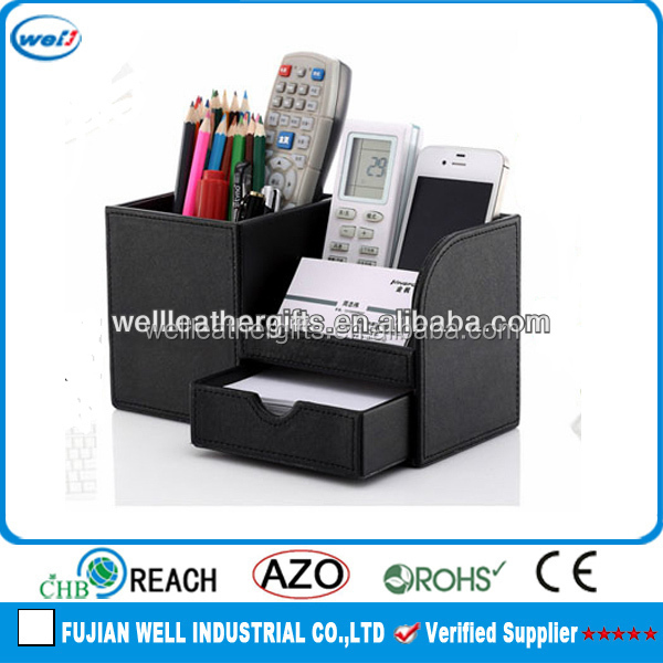 Customized office leatherette desk organizer with drawer