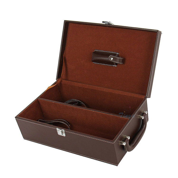leather gift wine box 2 bottles display packaging