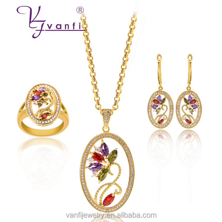 2016 Latest and popular women design ellipse shape jewelry set with flowers