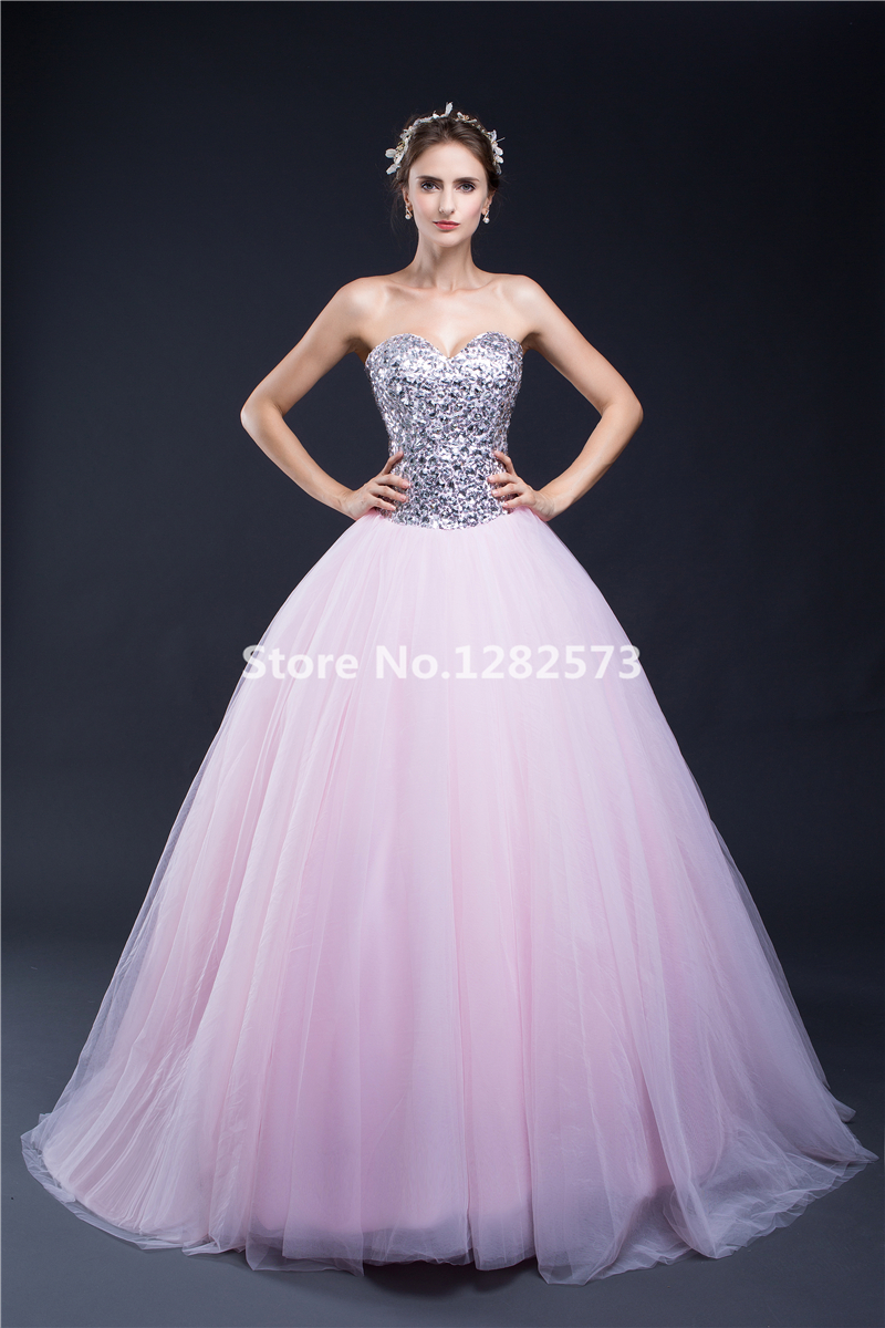 In Stock Silver and Pink Cheap Quinceanera Dresses Crystals Sequined ...