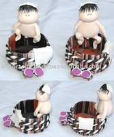Handmade clay doll japanese baby sumo bucket .. clip box clip holder