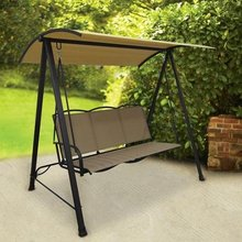 Outdoor Garden Backyard Classic 3 Seats Sling Swing, Tan Color