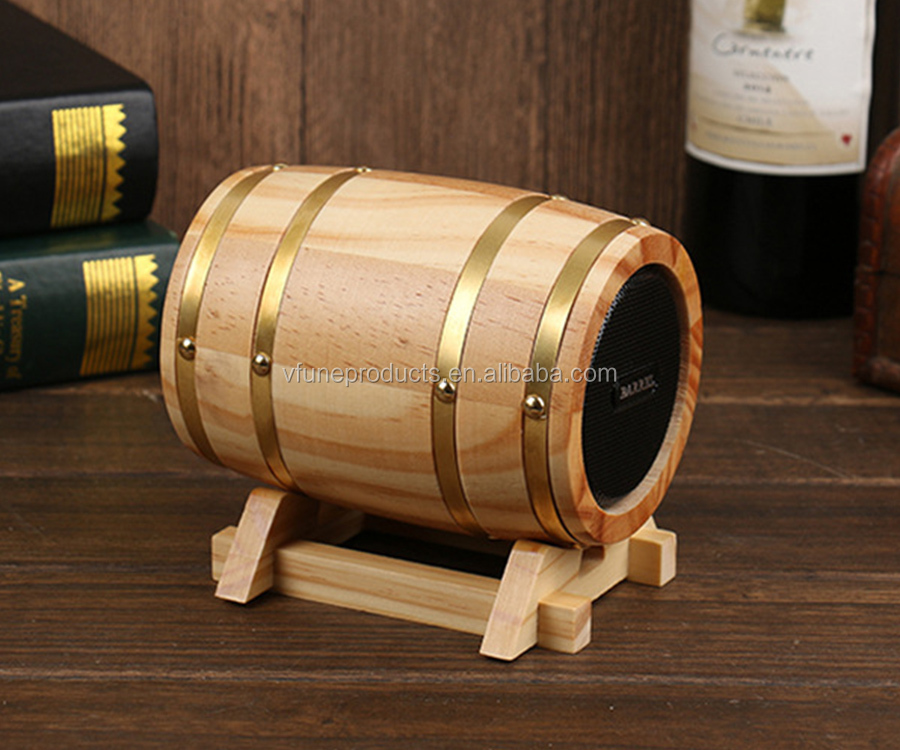 Portable Wireless Speaker Music Mini Wooden Wine Barrel Speaker