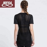Women Sports Mesh Net Quick Dry Running V-neck Baseball Breathable T-shirt