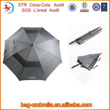 Custom Pongee Fabric Double Layer Promotional Car Logo Golf Umbrella with Printed Logo on the cover and Handle