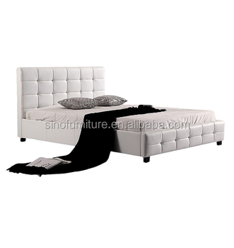 bedroom furniture for  home house Simple Modern furniture latest white leather double bed designs
