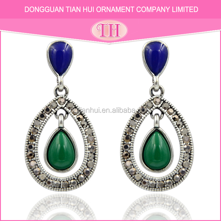eco-friendly material ladies emerald factory new fashion alloy earring