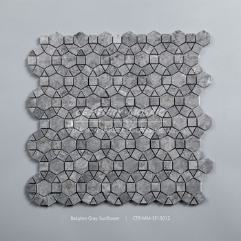 Babylon Gray Marble Sun Flower Pattern Polished Mosaic Tile