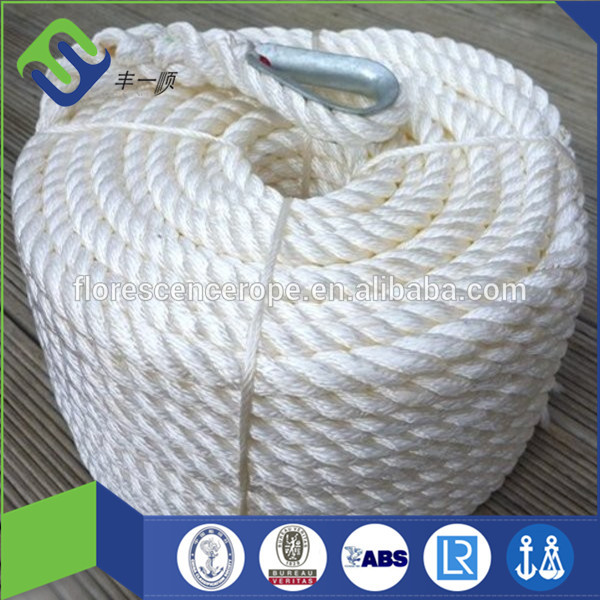 good reputation 3 strand white polyamide twisted rope