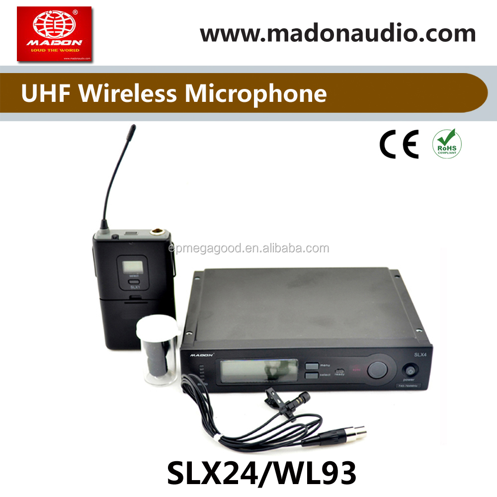 SLX24/WL93 Lapel single UHF PLL true diversity lapel lavalier wireless microphone system