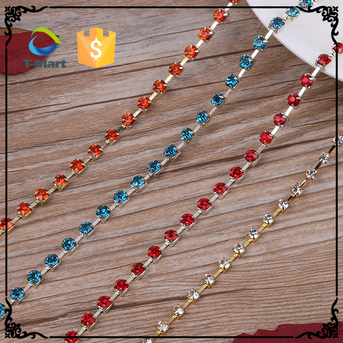Hot sale plastic crystal colored beaded chain