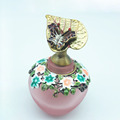 40ml Frosted Pink Perfume Bottles Small Quantity Wholesale with Butterfly Flying On Leaves Decorated Cap Metal Stick