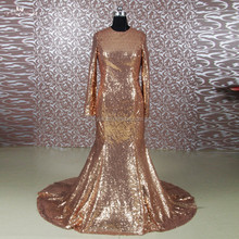 RSE648 Gold Mermaid Long Sleeve Muslim Evening Dress With Sequin