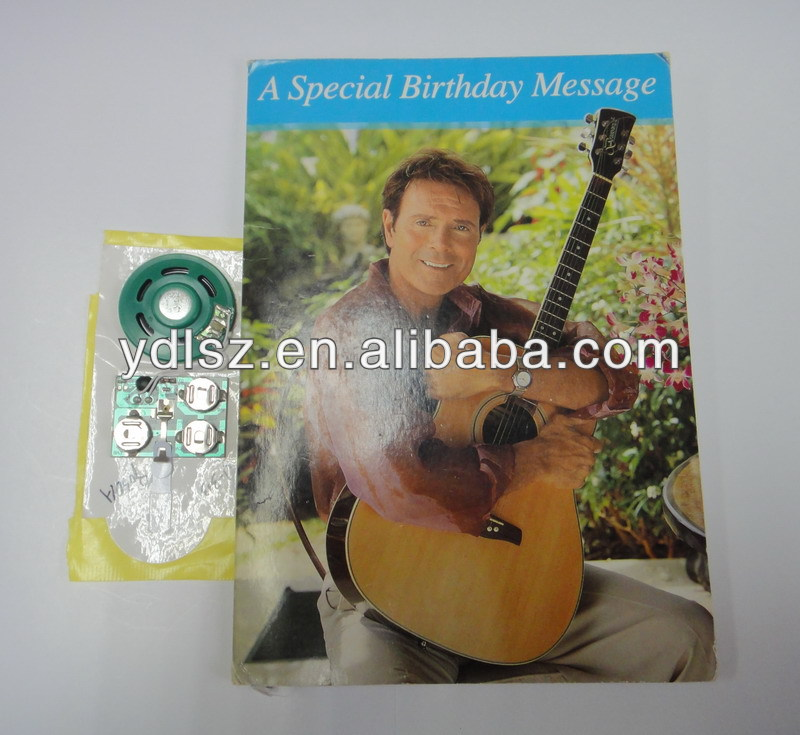 Music Card/ recordable Audio Greeting Card for Children's birthday