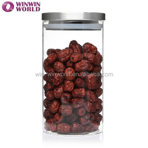Promtional Round Clear Heat Resisting Glass Spice Jar With Metal Lid